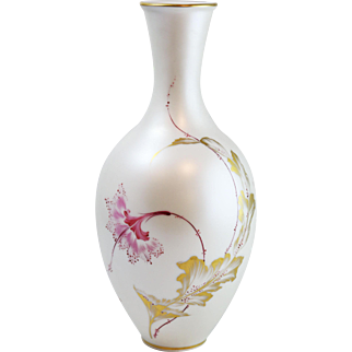 Stunning Vintage Hand-Painted & Signed Bavaria Floral Satin Finish Vase