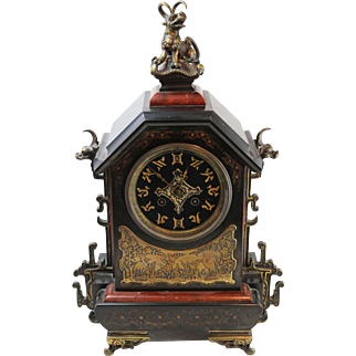 Antique 19th Century French Mantle Clock w Asian Motif