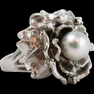 Vintage 14k White Gold Diamond Flower Cocktail Ring
