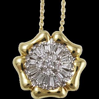 Vintage 14k Yellow Gold Diamond Fleurette Pendant Necklace