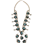 Naki Navajo Native American Squash Blossom Statement Necklace