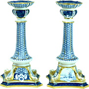 Pair Of Royal Crown Derby Bone China Candlestick Holders For Tiffany & Company New York Nautical Scene