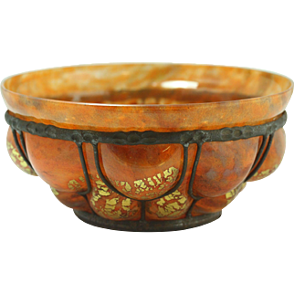 Signed Louis Majorelle Hammered Iron Blow - Out Art Glass Bowl Colorful Orange With Gold Flakes