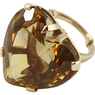 Beautiful Huge Citrine Heart-Shaped 14k Yellow Gold Cocktail Ring