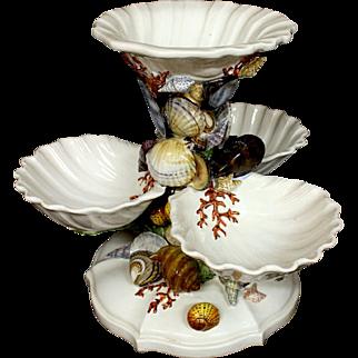 Unique Vintage Ceramic Ocean Life 4  Bowl Seashell Server Center Pieces Majolica Style