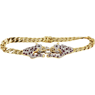 18k Yellow Gold Double Leopard Curb Link Bracelet w/ Diamonds and Rubies