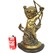 Vintage French Gold Bronze Door Stop Depicting Young St. George Slaying Serpent