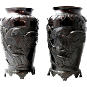 Pair of Vintage Japanese Bronze Vases with Eagle Motif