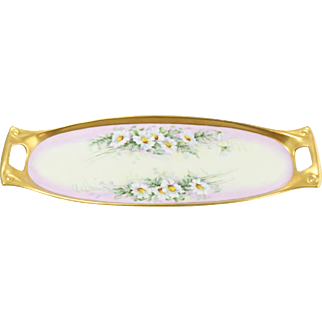 Beautiful Epiag Fine Porcelain Handled Tray with Daisies and Gold Accent