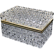 French Cut Crystal Hinged Casket Glove Box w/ Gold Bronze