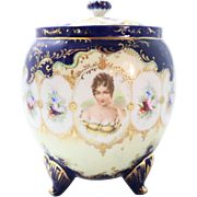 Vintage German Porcelain Cookie Jar with Painted Detail Blue and Gold