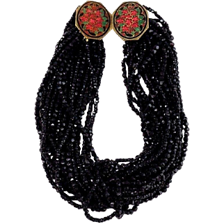 Bold Beaded Onyx Statement Necklace With Fancy Floral Enamel Clasp