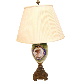 Finely Hand Painted Table Lamp w/ Hand Painted Portrait of Young Girl  Gilded Pot Metal Base + Shade