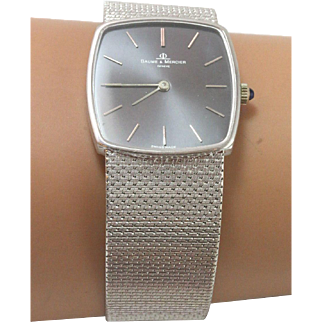 18k White Gold Mesh Band Baume & Mercier Luxery Automatic Wrist Watch