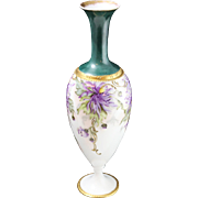 Fine Limoges Green + Gold Vase with Hand-Painted Purple Floral Design