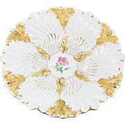 "Meissen White and Gold Ornate 11"" Bowl with Pink Flower"