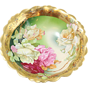 Stunning Austrian Porcelain Bowl with Hand-Painted Roses and Gold Accent