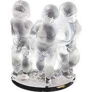 Fine Lalique Single Frosted Crystal Cherub Relief Bookend