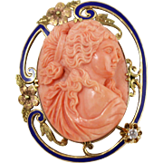 Elegant 14k Yellow Gold and Coral Convertible Cameo Brooch/Pendant w/ Enamel