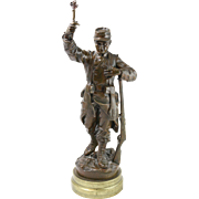 "RAULIN Antique Bronze ""Heros Soye Benis!"" 16"" Statue"