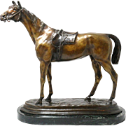 Jules Moigniez Bronze Horse Sculpture w/ Marble Base and Vibrant Patina