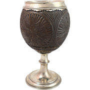 Antique circa 1770 English Silver Mounted Coconut Cup by Thomas Hyde