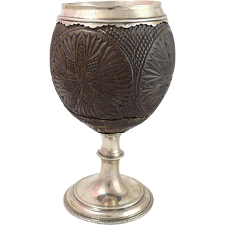 Antique circa 1770 English Silver Mounted Coconut Cup by Thomas Hyde