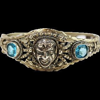 Vintage Spelter Blue Paste w/ Bacchus Face Hinged Bangle Bracelet