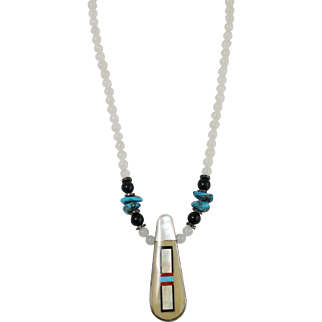 """""""Waymon"""" Hardstone Necklace w/ Mother of Pearl Inlay, Agate, Onyx, and Turquoise"""