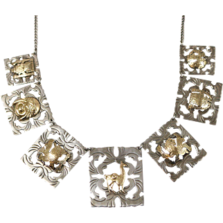 Fine Sterling Silver and 18k Yellow Gold Native Motif Multi-Plaque Necklace