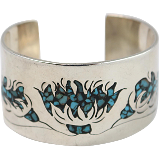 """""""HB"""" Sterling Silver Turquoise Cuff Bangle Bracelet"""