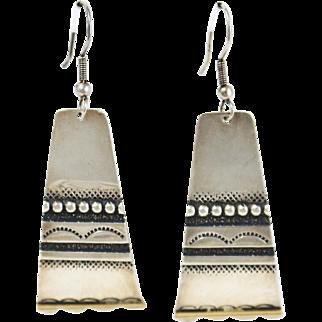 Pair of Fine Sterling Silver 18k Yellow Gold Southwestern Dangle Earrings