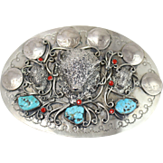 Oversized Sterling Silver Buffalo Nickels Belt Buckle w/ Turquoise and Coral Beads