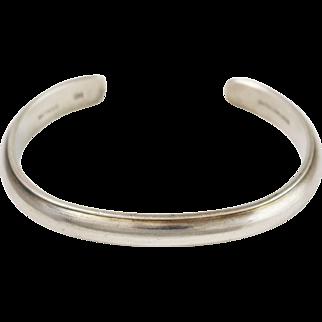 Navajo Irvin Chee Sterling Silver Open Cuff Bangle Bracelet