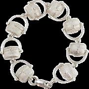 French Sterling Silver Doucette Baskets Link Bracelet