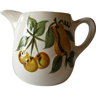 Vintage Stangl Pottery Creamer Sculptured Fruit Hand Painted Circa 1950's