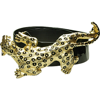 Huge Mimi di Niscemi Leopard Belt Buckle Black Enamel Dated 1993 Runway Size Mimi di N