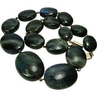 Vintage Hand Made Labradorite 14KT Gold Mounted Necklace Very Large Beads