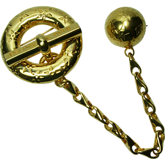 Celine Paris Couture Planisphere Chatelaine Brooch Signed Dated 1989 Logo