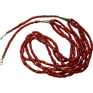 Vintage Red Coral Silver Necklace 4 Strands Southwestern Genuine Natural Oxblood Coral