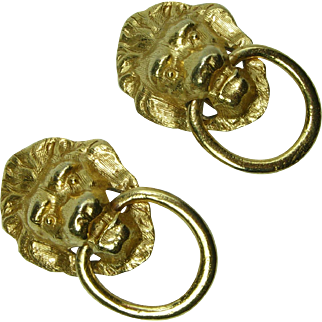 1970s Lion Doorknocker Motif Earrings Clipback Couture Statement