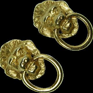 1970s Lion Doorknocker Motif Earrings Clipback Couture Statement