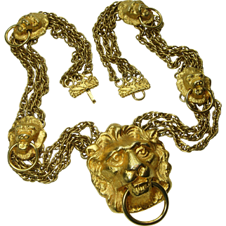 1970s Couture Statement Necklace Lion Doorknocker Motif Heavy Runway Necklace Goldtone Metal