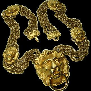 1970s Couture Statement Necklace Lion Doorknocker Motif Heavy Runway Necklace Goldtone Metal