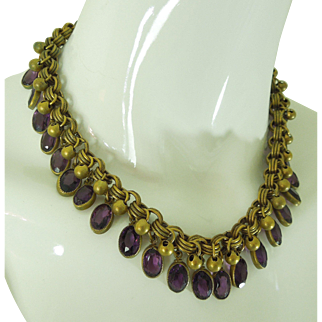 1930s Art Deco Necklace Purple Glass Bezel Drops Czech French Bib Necklace