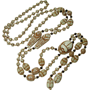 1920s Egyptian Art Deco Czech Glass Long Necklace Max Neiger Scarab Beads 41 Inches Plus 6.5 Inch Drop