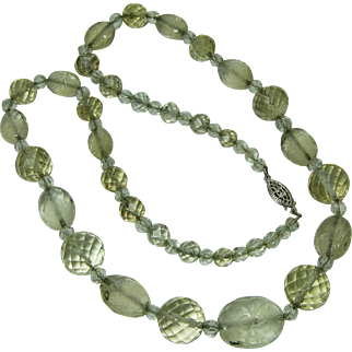 1930 Art Deco Necklace Carved Smoky Quartz Rock Crystal Sterling Silver Chain Strung Bridal Jewelry Wedding Necklace