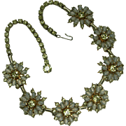 1950s Signed Hattie Carnegie Necklace Opaline and Lemon Glass Rhinestones Bridal Necklace Wedding Jewelry
