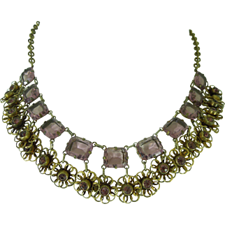 1930s Purple Glass Bib Necklace Victorian Revival Openback Large Stones Wedding Jewelry Bridal Necklace