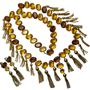 1970s Runway Kramer Huge Necklace Earrings Pale Yellow Glass Stones Openback Unfoiled Tassels 31 Inches